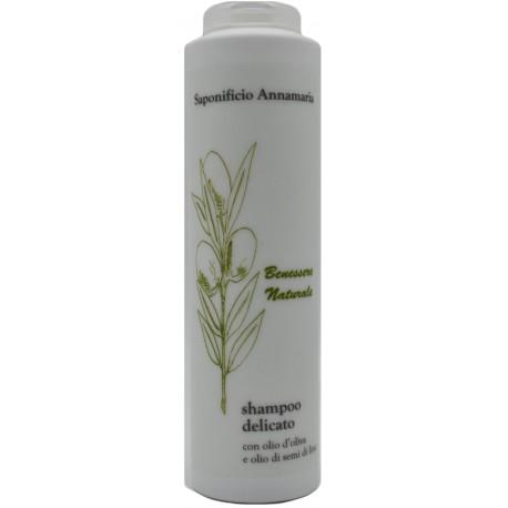 Shampoo delicato per capelli secchi all'olio di OLIVA EXTRAVERGINE e olio di semi di LINO